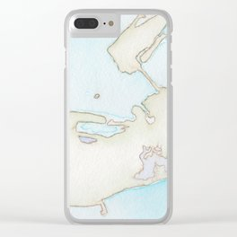 Key West Watercolor Map Clear iPhone Case