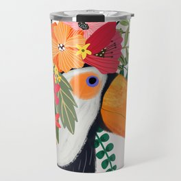 Toucan with flowers on head Travel Mug