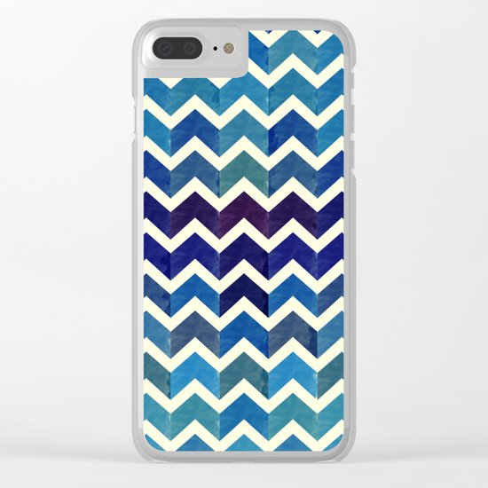 Watercolor Chevron Pattern III Clear iPhone Case