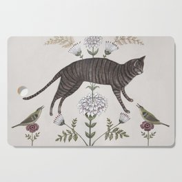 Brown Tabby with Birds Cutting Board