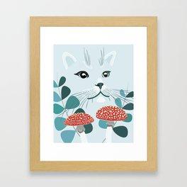 Blue Forest Cat Framed Art Print