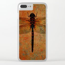 Dragonfly On Orange and Green Background Clear iPhone Case