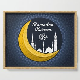 Crescent Moon with Ramadan Kareem in Arabic Calligraphy and Silhouette of Prophet Muhammad's Mosque Serving Tray