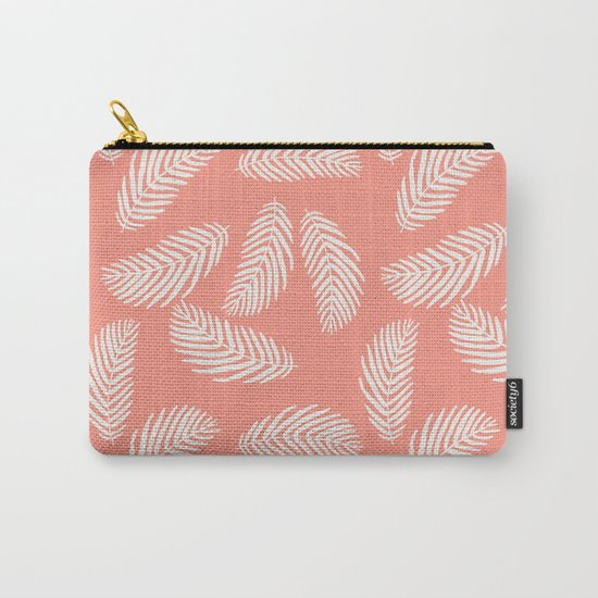 Palm trees pastel pink tropical minimal ocean seaside socal beach life pattern Carry-All Pouch