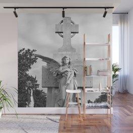 Angel Statue Cemetery Graveyard Tomb Gothic Catholic Cuba Spain Havana Broken Wing Cross Wall Mural
