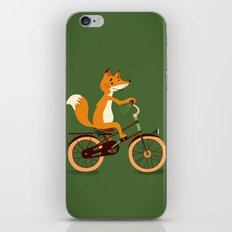 Little fox on the bike iPhone & iPod Skin