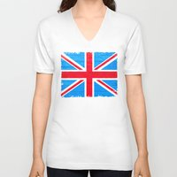 british flag V-neck T-shirts featuring Rough And Worn British Union Jack Flag by Mark E Tisdale