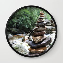 Rock Stack Falls Wall Clock