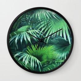 Tropical Botanic Jungle Garden Palm Leaf Green Wall Clock