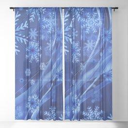 Blue Snowflakes Winter Sheer Curtain