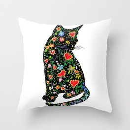 Portuguese Cat Folk Throw Pillow
