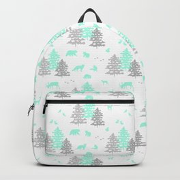 Mint Green Woodland Animals Backpack