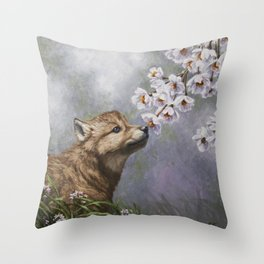 Wolf Pup and Spring Blossoms Throw Pillow