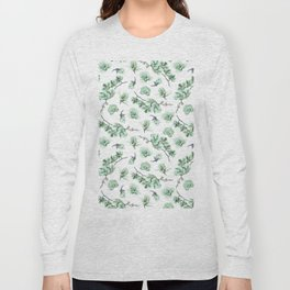Pastel green watercolor modern orchid floral pattern Long Sleeve T-shirt