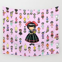 girly Wall Tapestries featuring Girly by Ho Man Law