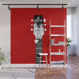 Guitar - Head, Red Background Wall Mural