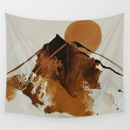 abstract mountains, rustic orange sunrise Wall Tapestry