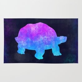 TORTOISE IN SPACE // Animal Graphic Art // Watercolor Canvas Painting // Modern Minimal Cute Rug