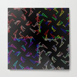 Set of patterns from flowing lines and triangles in multi colored tones for fabric or decorations. Metal Print