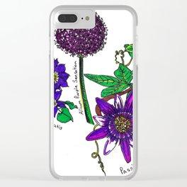 Purple Garden Flowers Clear iPhone Case