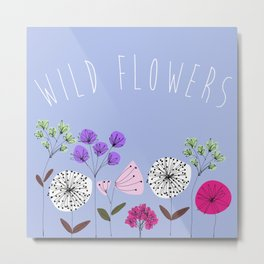 Wild flowers illustration - Blue Metal Print