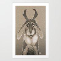 jackalope Art Prints featuring Jackalope by Art of Jeff Hebert