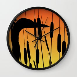 Great Blue Heron - Sunset Wall Clock