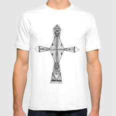 cross-aqua MEDIUM Mens Fitted Tee White