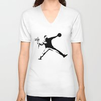 banksy V-neck T-shirts featuring #TheJumpmanSeries, Banksy by @thepeteyrich