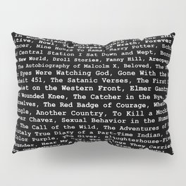 Banned Literature Internationally Print on Black Pillow Sham