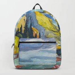 Canadian Landscape Watercolor Painting Franklin Carmichael Art Nouveau Backpack