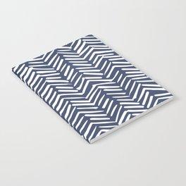 Boho Herringbone Pattern, Navy Blue and White Notebook