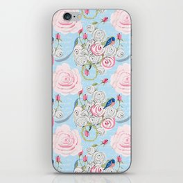 Bluebirds and Watercolor roses on pale blue with white French script iPhone Skin