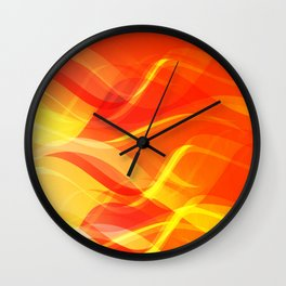 Theme of fire for the banner. Bright red and orange glare on a gentle background for a fabric or pos Wall Clock