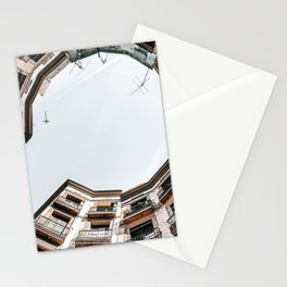 Travel Print, Barcelona Gothic Quarter, El Raval, Low Angle, Perspective View, Downtown Barcelona Spain, Travel Print, Vintage Architecture Stationery Cards