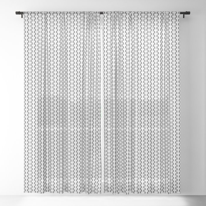Black and White Basket Weave Shape Pattern 2 - Graphic Design Sheer Curtain