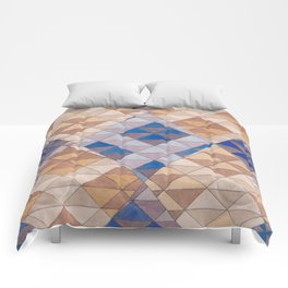 Triangle Pattern No. 13 Shifting Purple and Ochre Comforters