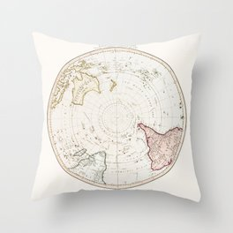 Southern Hemisphere - reproduction of William Faden's 1790 engraving Throw Pillow