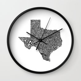 Typographic Texas Wall Clock