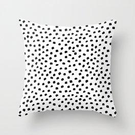 Dalmatian Dots Black White Spots Throw Pillow