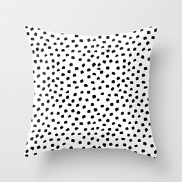 Dalmatian Dots Black White Spots Throw Pillow