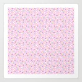 Pink blush yellow teal abstract modern floral Art Print