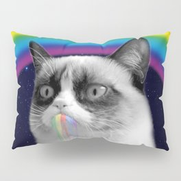 cat all over galaxy rainbow puke Space Crazy Cats Pillow Sham