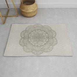 Modern boho white floral mandala pattern on beige Rug