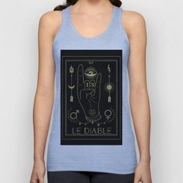 Le Diable or The Devil Tarot Gold Unisex Tank Top