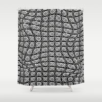 gray pattern Shower Curtains featuring Gray Pepples Pattern by Pia Schneider [atelier COLOUR-VISION]