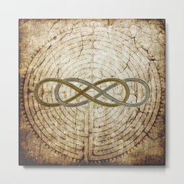 Double Infinity Silver Gold antique Metal Print