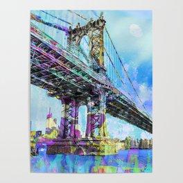 New York City Manhattan Bridge Blue Poster