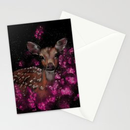 Little roe deer in pink blossoms  Stationery Cards