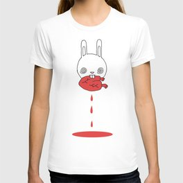 Hungry Bunny - funny cartoon drawing of cute bunny rabbit eating a heart of unknown provenance T-shirt